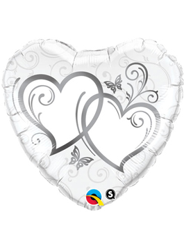Globo foil Entwined Hearts Silver 36""