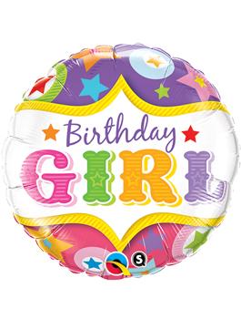 Globo foil Birthday Girl Circus Stars
