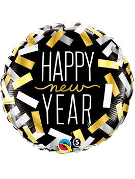 Globo foil redondo Feliz Año tiras confetti