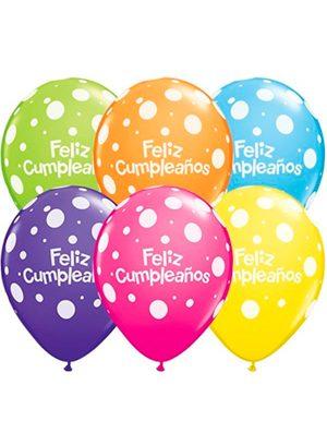 Globo látex Feliz Cumpleaños surtido tropical