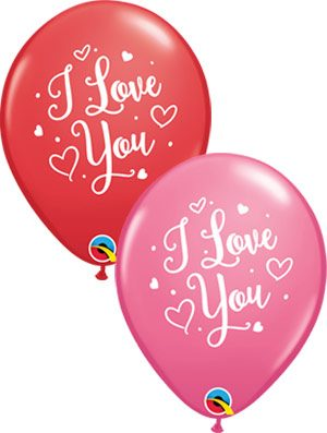 Globo látex surtido I Love You Hearts Script