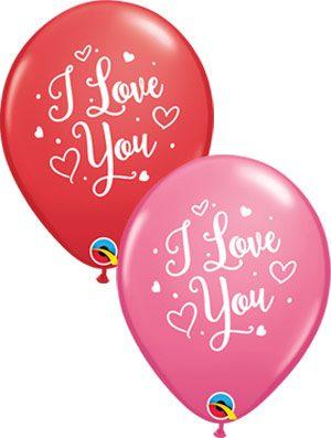Globo látex surtido I Love You Hearts Script