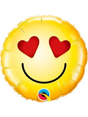 """Globo foil Emoji Ojos Corazón 9"""""""