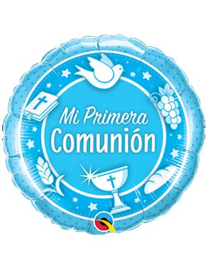 Globo foil Mi Primera Comunión Azul