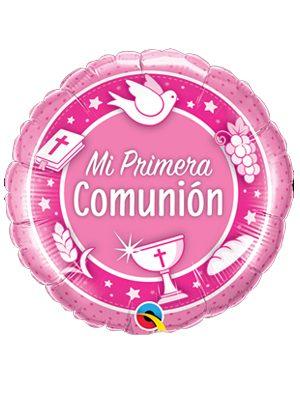 Globo foil Mi Primera Comunión Rosado