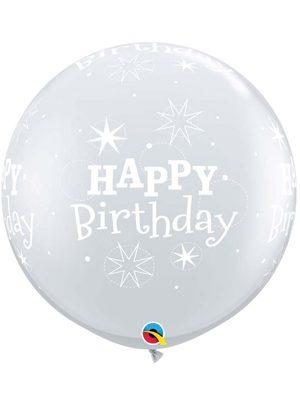 Globo látex gigante Birthday Sparkle transparente