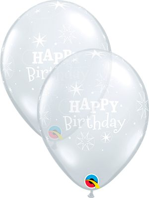Globo látex Birthday Sparkle transparente
