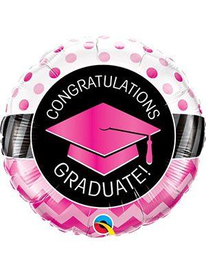 Globo foil Graduate Pink Chevron Dots