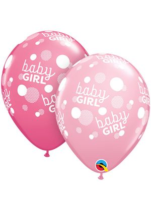 Globo Látex Baby Girl Pink Dots-A-Round