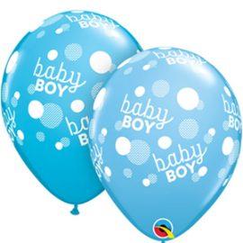 Globo Látex Baby Boy Blue Dots-A-Round