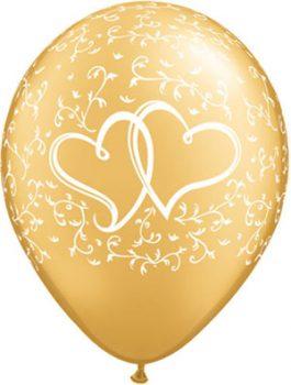 Globo látex dorado corazones Entwined Hearts