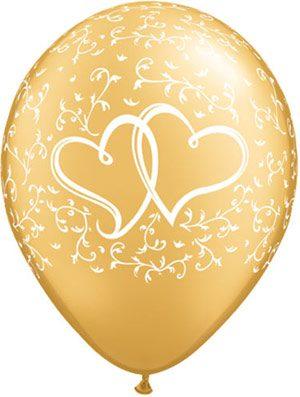 Globo látex Entwined Hearts dorado