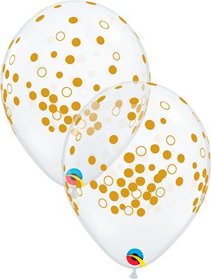 Globo látex Confetti Dots Oro transparente