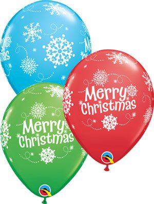 Globo látex surtido Merry Christmas Snowflakes