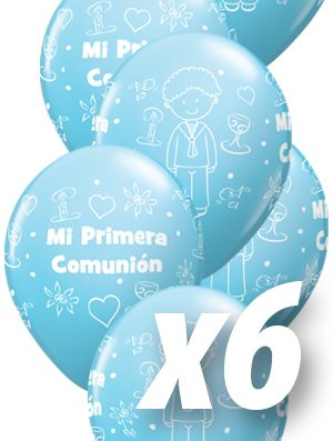 Globo látex Comunión niño Light Blue perlado pack 6