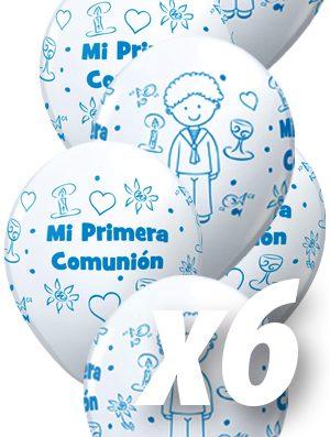 Globo látex Comunión Blanco Azul niño pack 6