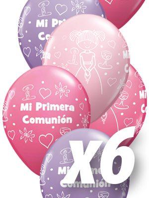 Globo látex Comunión niña Rose, Pink y Lila pack 6