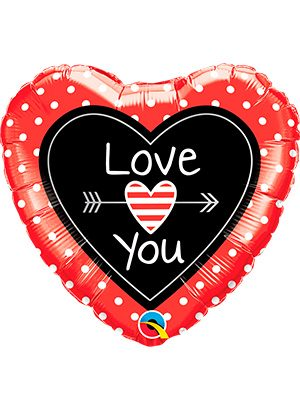 Globo foil Love You Dots & Arrows