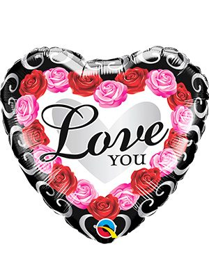 Globo foil Love You Red Rose Frame