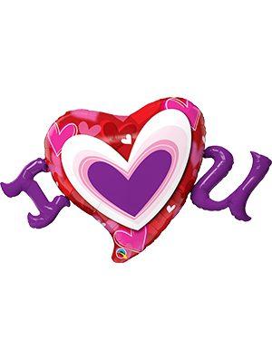 Globo foil I Heart U Radiant Hearts