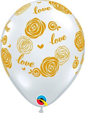 Globo látex Love Roses transparente