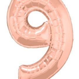 Globo forma numero nueve Rose Gold