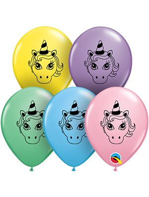 Globo látex Unicorn Head surtido 5""
