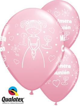 Globo látex Comunión niña Pink