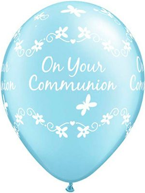 Globo látex Comunión niño Butterflies Pearl Light Blue