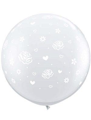 Globo látex gigante Flowers a Round transparente/blanco