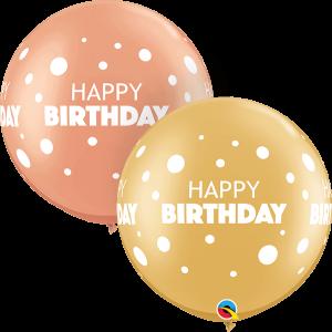 Globo látex gigante Cumpleaños Puntos, Oro y Rose gold