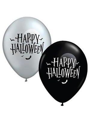 Globo látex surtido plata y negro Happy Halloween