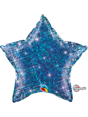 Globo foil estrella Holographic Jewel blue