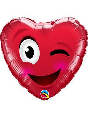 Globo foil corazón Smiley Wink Heart
