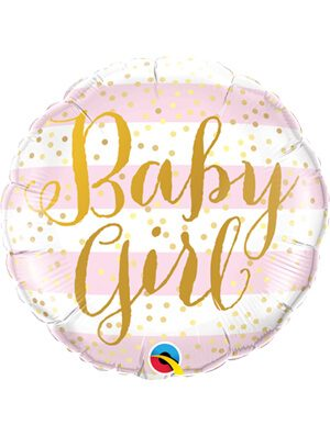 Globo foil Baby Girl Pink Stripes