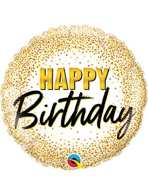 Globo foil Birthday Gold Glitter Dots