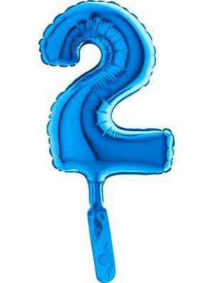 "Globo mini numero dos azul 7"" 5 uds."