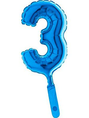 "Globo mini numero tres azul 7"" 5 uds."