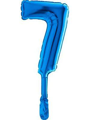 "Globo mini numero siete azul 7"" 5 uds."