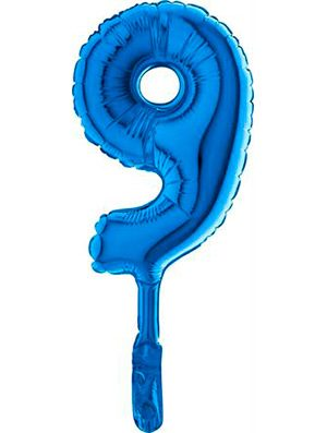 """Globo mini numero nueve azul 7"""" 5 uds."""
