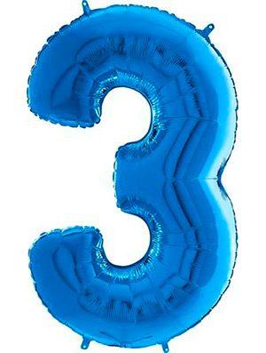 "Globo forma numero tres azul 26"""