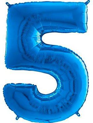 "Globo forma numero cinco azul 26"""
