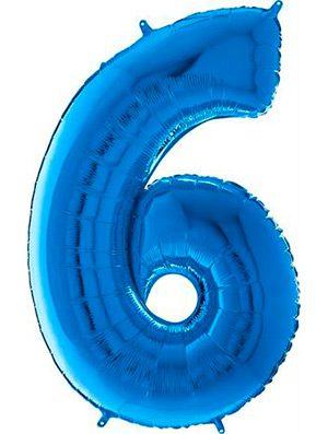 "Globo forma numero seis azul 26"""