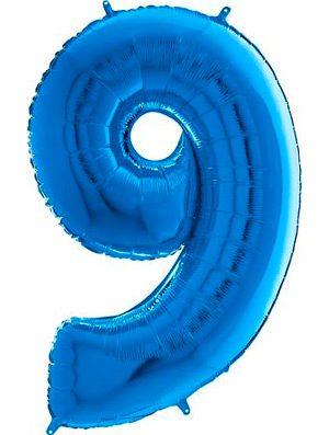 """Globo forma numero nueve azul 26"""""""