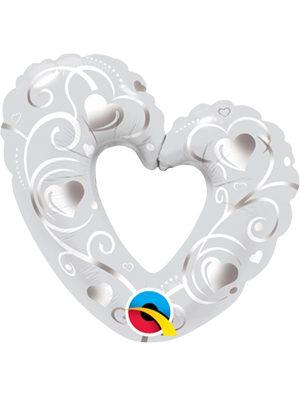 """Globo foil corazón Heart & Filigree Pearl White 14"""""""