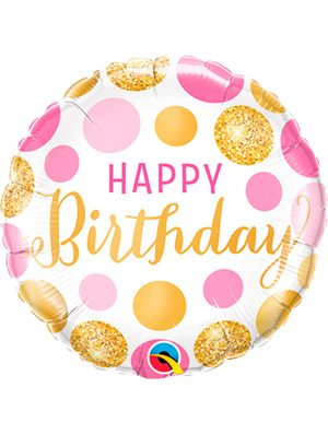 Globo foil Birthday Pink & Gold Dots 18""