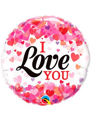 Globo foil I Love You Confetti Hearts 9""
