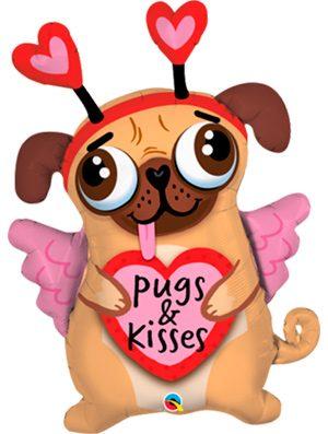 Globo foil Pugs & Kisses