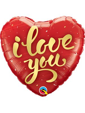 Globo foil I Love You Gold Script