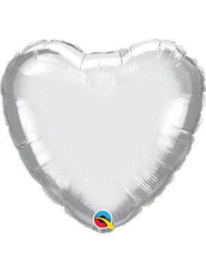 Globo foil corazón Chrome Silver